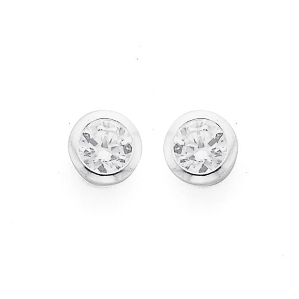 Sterling Silver 3mm Cubic Zirconia Stud Earrings