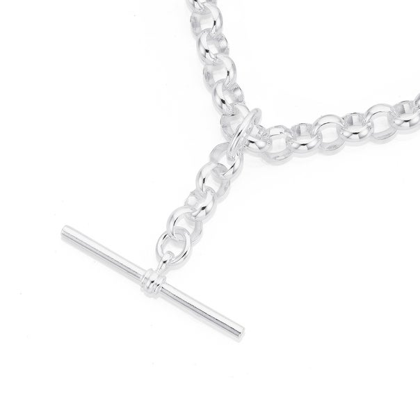 Sterling Silver 45cm Belcher Chain with T-Bar Fob