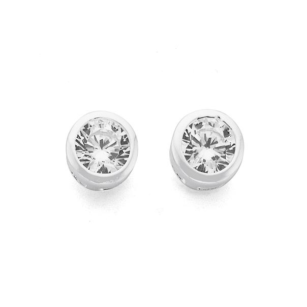 Sterling Silver 4mm Cubic Zirconia Stud Earrings
