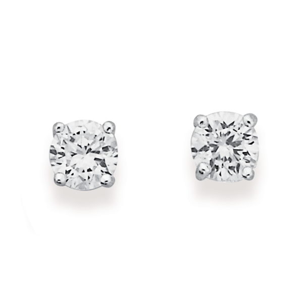 Sterling Silver 4mm Cubic Zirconia Studs