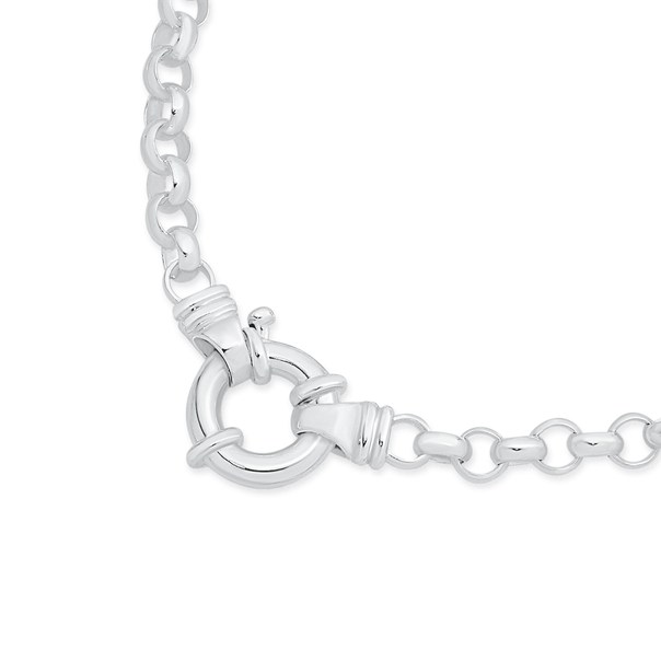 Sterling Silver 50cm Belcher Bolt Ring Necklace
