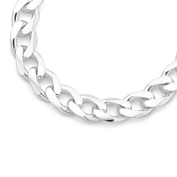 Sterling Silver 50cm Bevelled Curb Chain