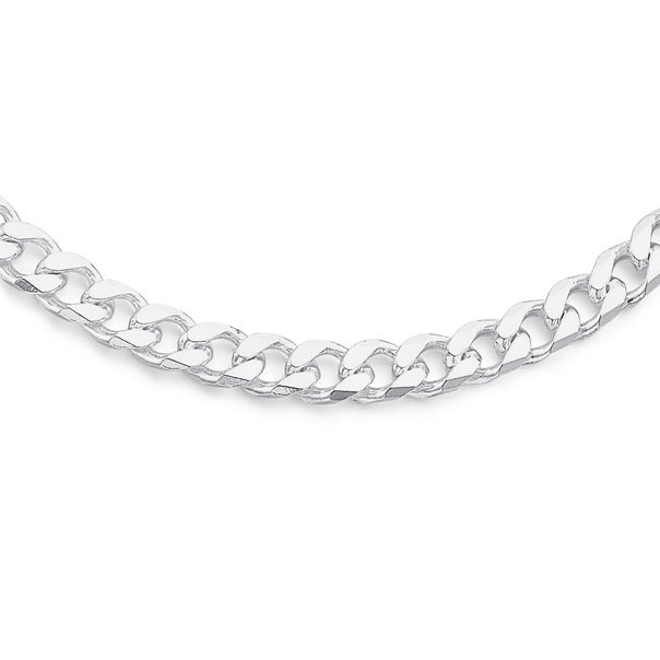 Sterling Silver 50cm Bevelled Cut Curb Chain