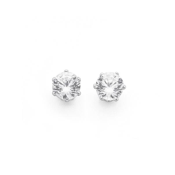 Sterling Silver 5mm Cubic Zirconia Stud Earrings