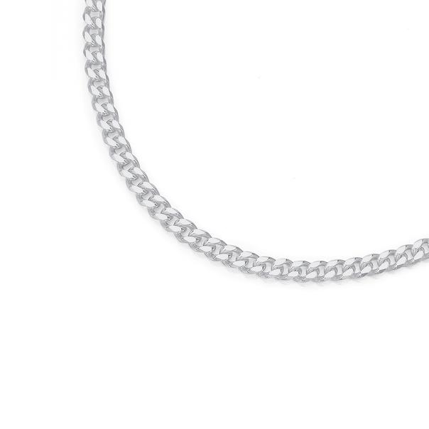 Sterling Silver 60cm Bevelled Diamond Cut Curb Chain