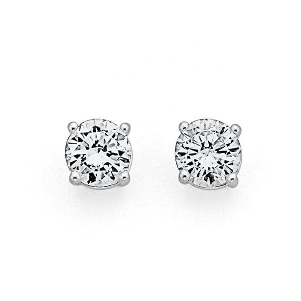Sterling Silver 6mm Cubic Zirconia Studs
