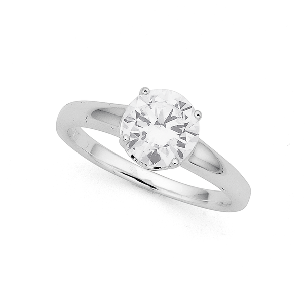 Sterling Silver 8mm Cubic Zirconia Solitaire Ring (Size R)