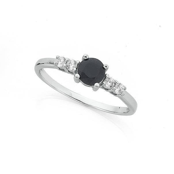 Sterling Silver Black Sapphire & Cubic Zirconia Ring