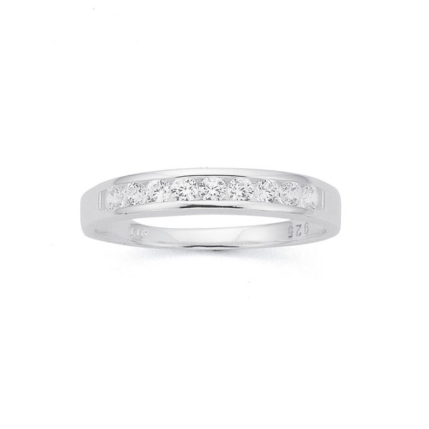 Sterling Silver Cubic Zirconia Channel  Set Ring (Size R)