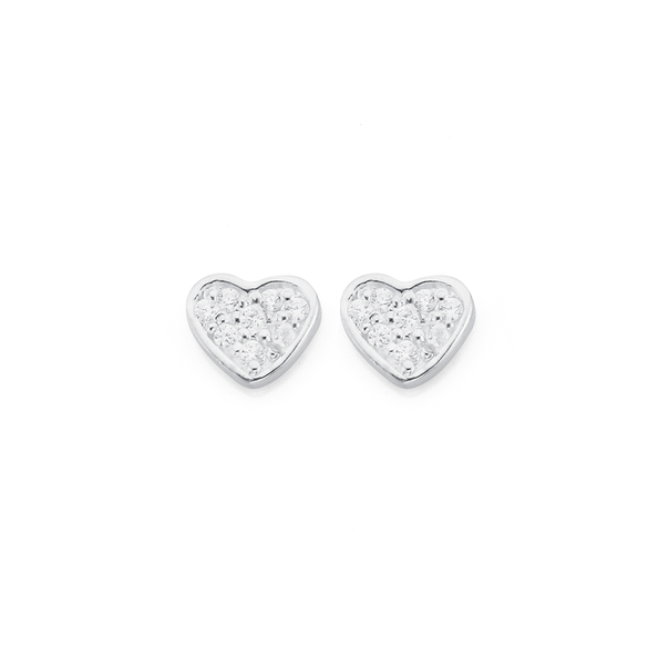 Sterling Silver Cubic Zirconia Heart Studs