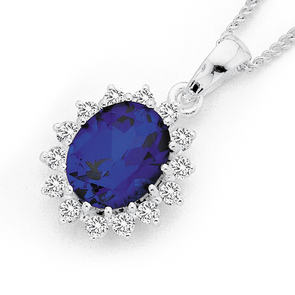 Sterling Silver Cubic Zirconia Oval Pendant