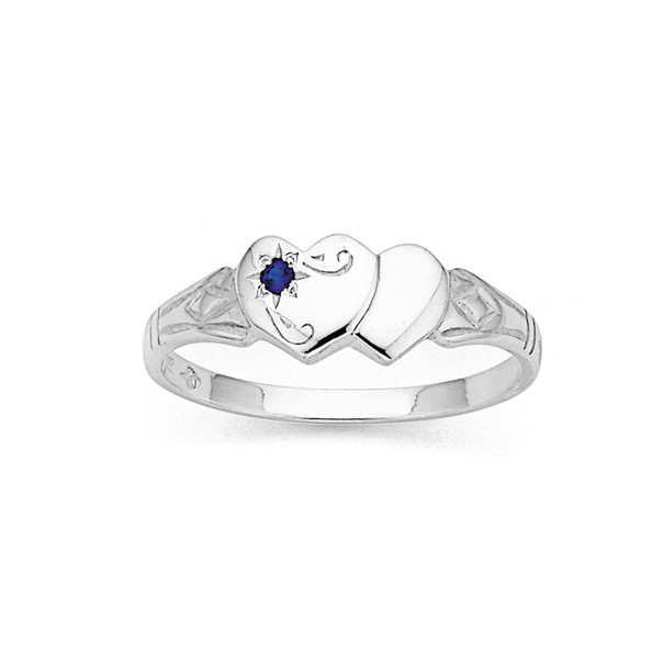 Sterling Silver Double Heart Signet Ring (Size M)