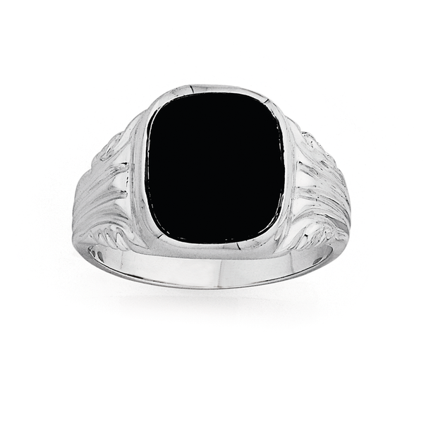 Sterling Silver Gents Onyx Signet Ring
