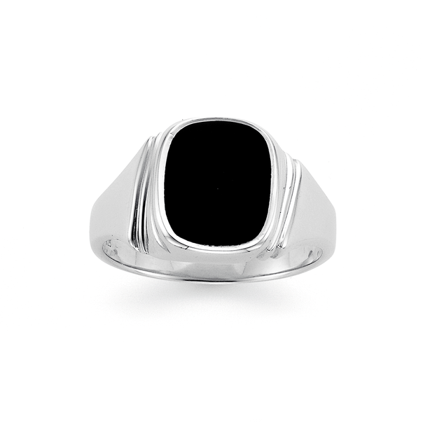 Sterling Silver Onyx Gents Ring