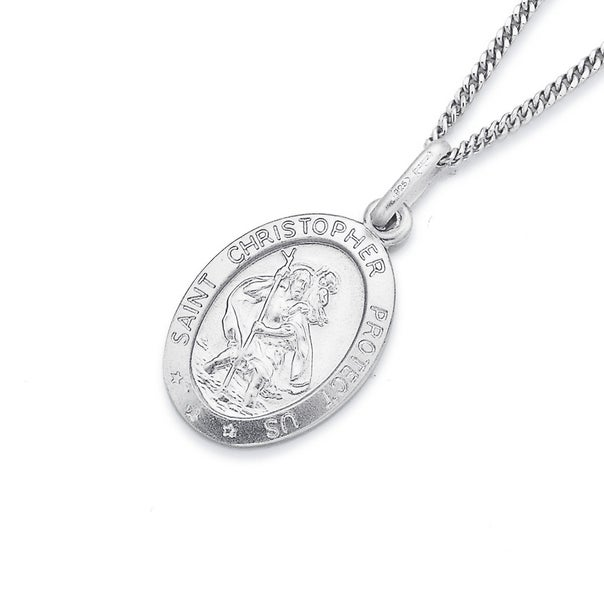 Sterling Silver St. Christopher Pendant 16mm