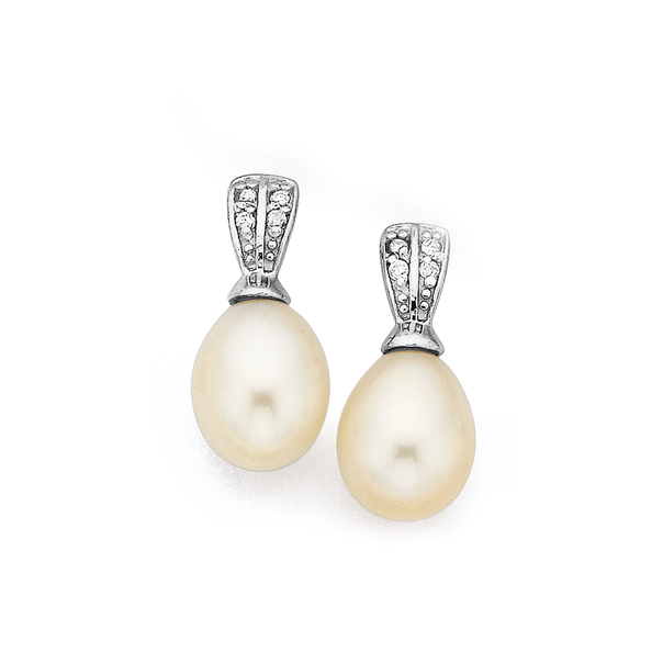 Sterling Silver White Freshwater Pearl & Cubic Zirconia Studs